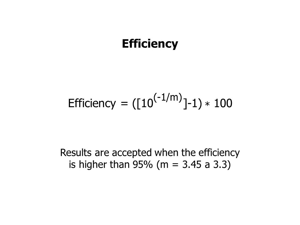 Results are accepted when the efficiency