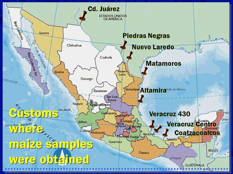 Customs where maize samples were obtained Cd. Juárez Piedras Negras