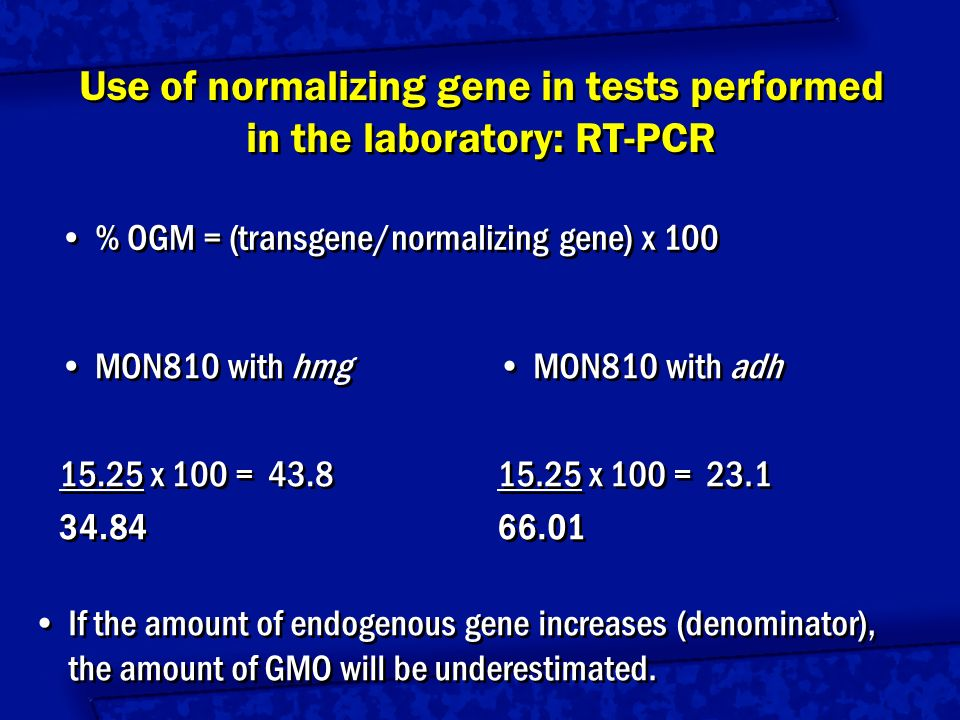 Use of normalizing gene in tests performed in the laboratory: RT-PCR