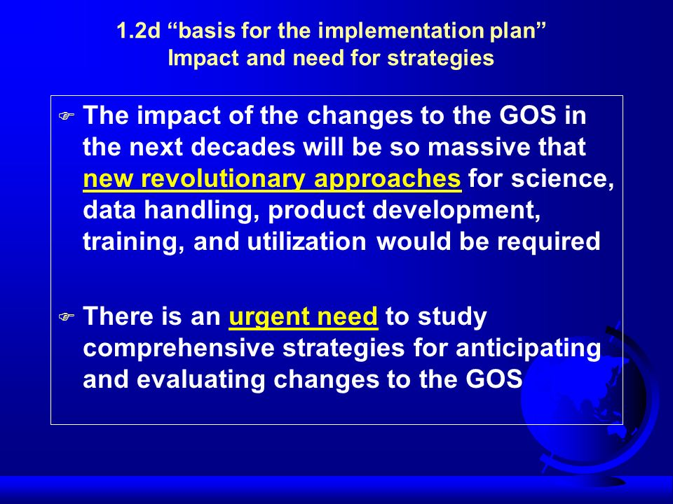 1.2d basis for the implementation plan