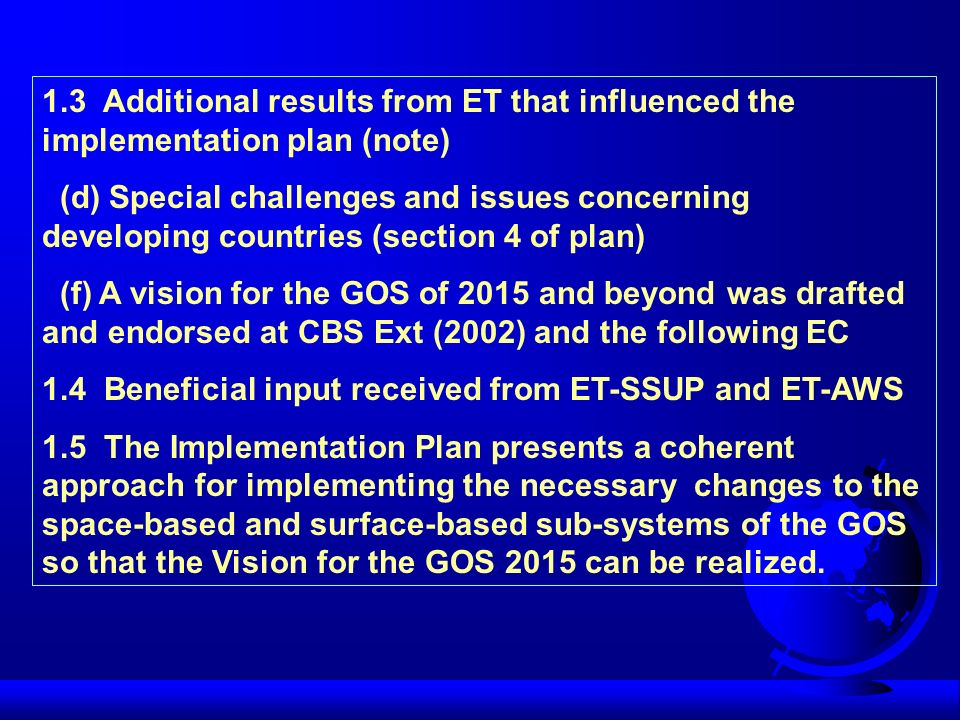 1.3 Additional results from ET that influenced the implementation plan (note)