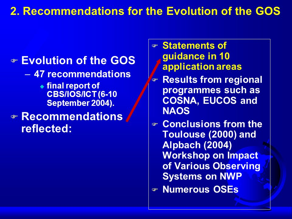 2. Recommendations for the Evolution of the GOS