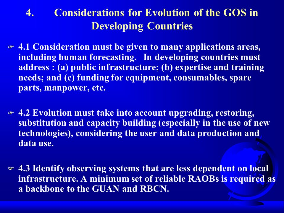 4. Considerations for Evolution of the GOS in Developing Countries
