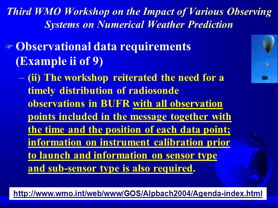 Observational data requirements (Example ii of 9)