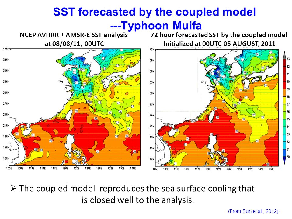 SST forecasted by the coupled model ---Typhoon Muifa