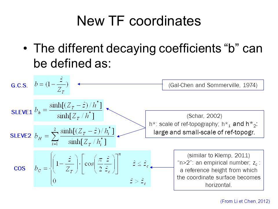 New TF coordinates The different decaying coefficients b can be defined as: G.C.S. (Gal-Chen and Sommerville, 1974)