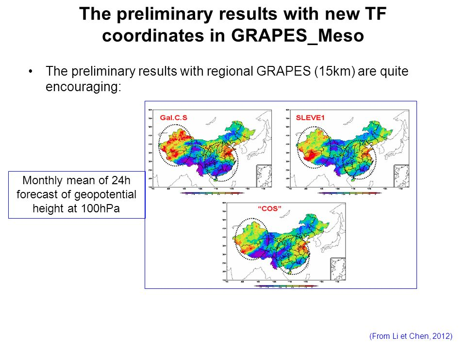 The preliminary results with new TF coordinates in GRAPES_Meso