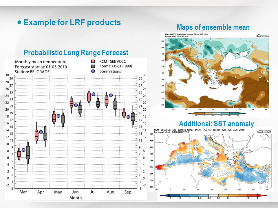 ● Example for LRF products Maps of ensemble mean