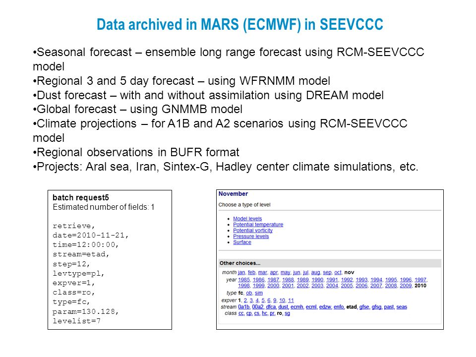 Data archived in MARS (ECMWF) in SEEVCCC