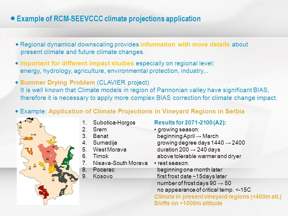 ● Example of RCM-SEEVCCC climate projections application