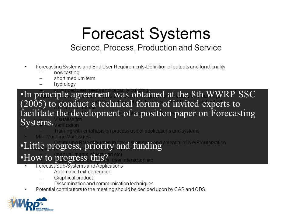 Forecast Systems Science, Process, Production and Service