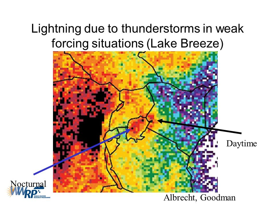 Lightning due to thunderstorms in weak forcing situations (Lake Breeze)