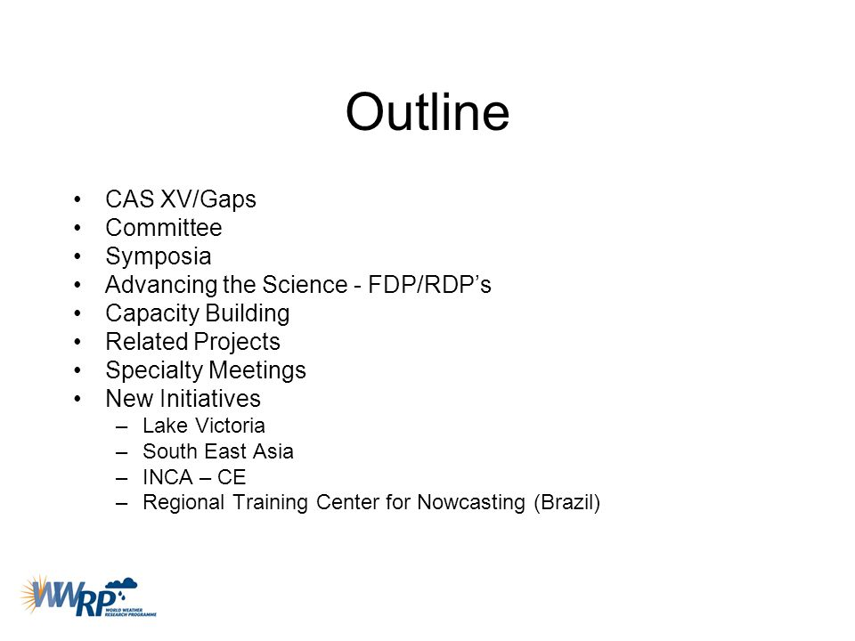 Outline CAS XV/Gaps Committee Symposia