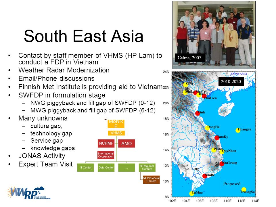 South East Asia Contact by staff member of VHMS (HP Lam) to conduct a FDP in Vietnam. Weather Radar Modernization.