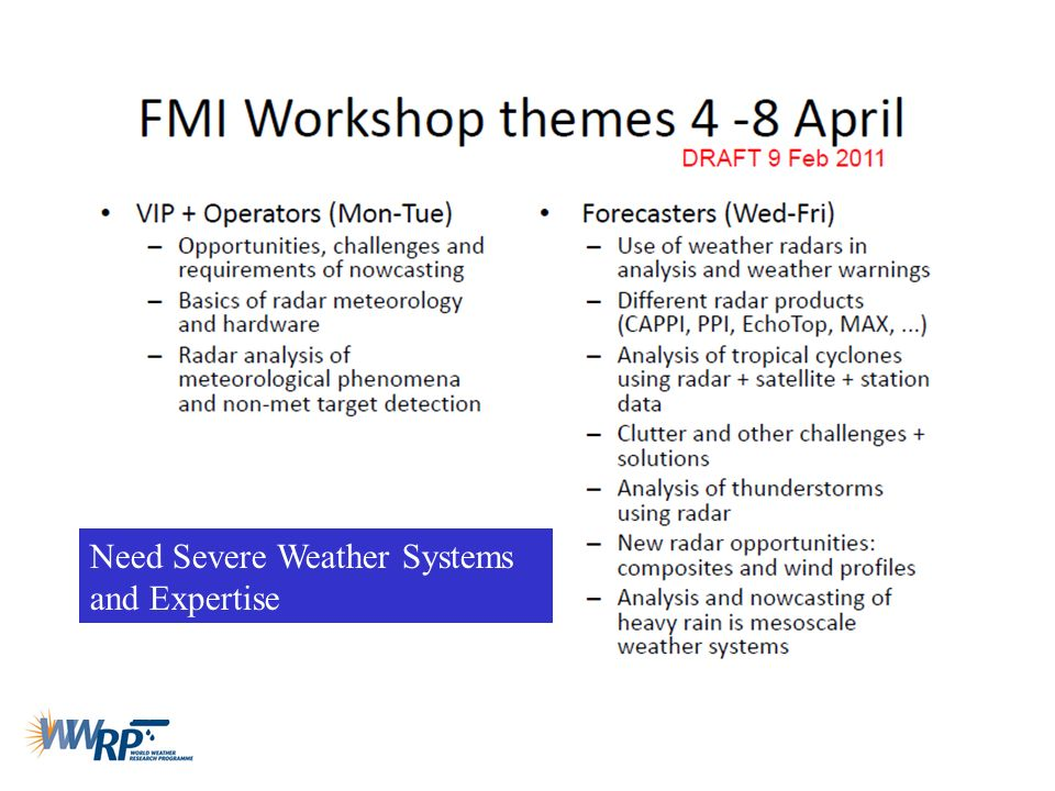 Need Severe Weather Systems and Expertise