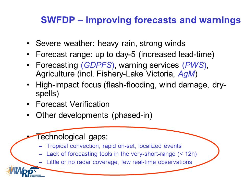 SWFDP – improving forecasts and warnings