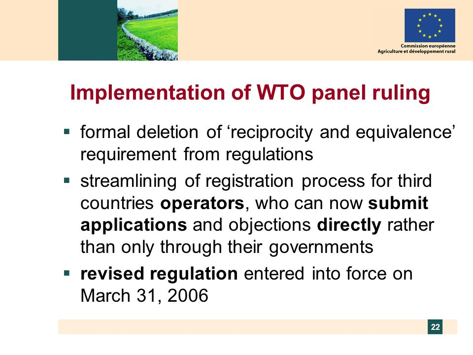 Implementation of WTO panel ruling