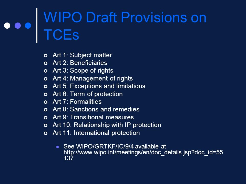 WIPO Draft Provisions on TCEs