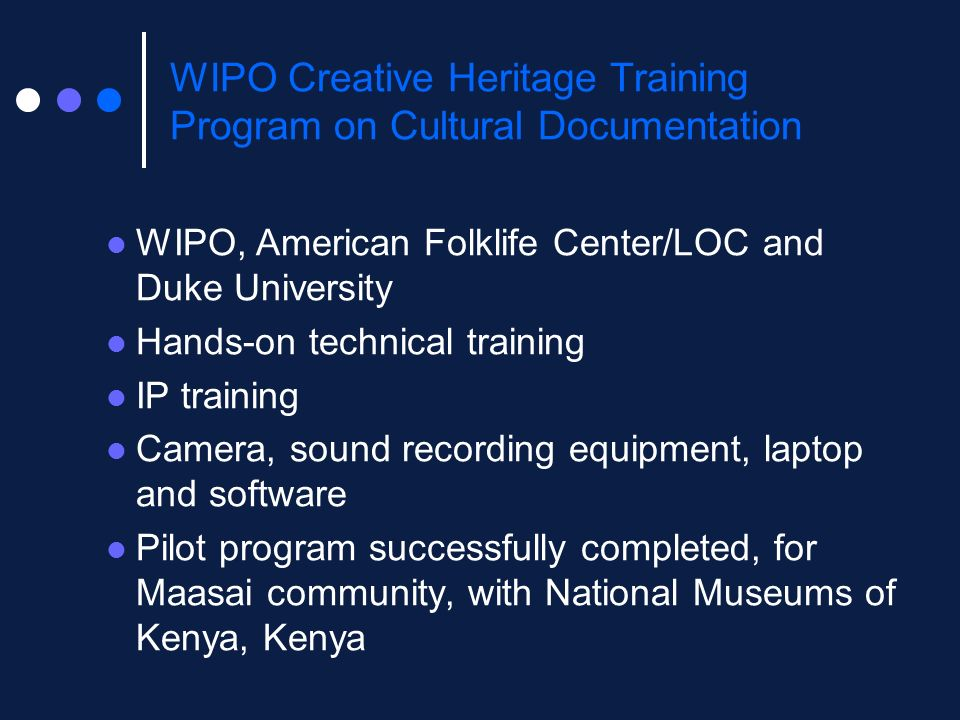 WIPO Creative Heritage Training Program on Cultural Documentation