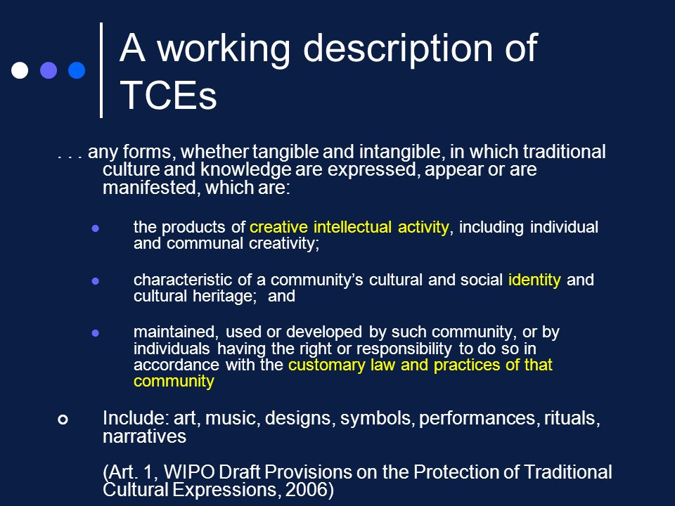 A working description of TCEs