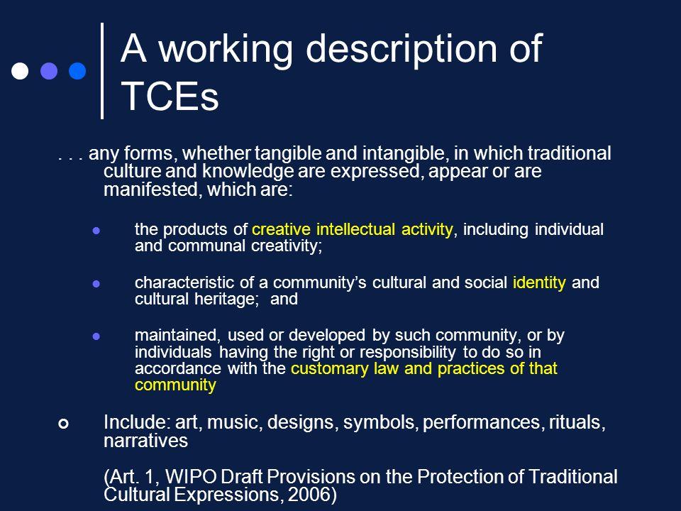 A working description of TCEs