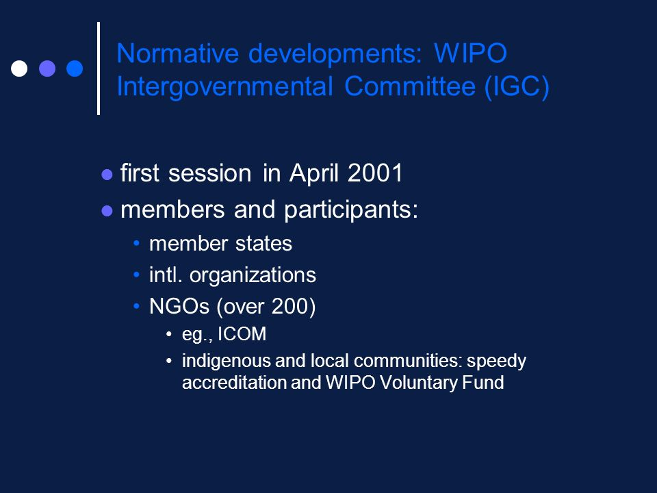 Normative developments: WIPO Intergovernmental Committee (IGC)