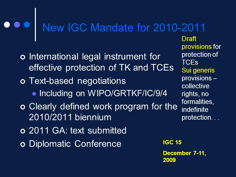 New IGC Mandate for 2010-2011