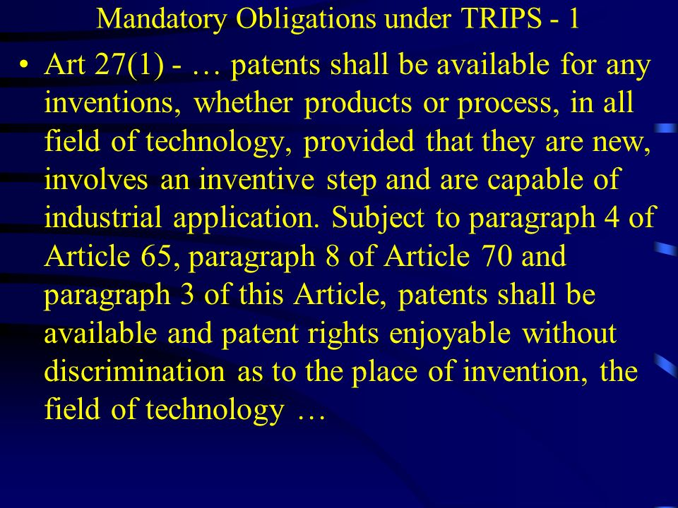 Mandatory Obligations under TRIPS - 1