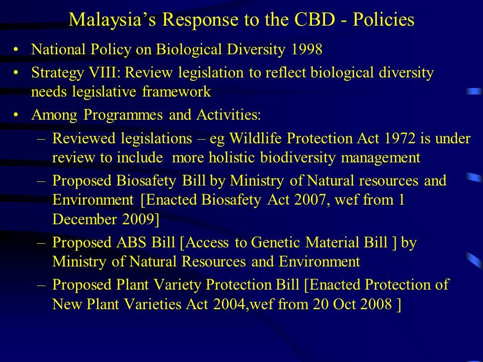 Malaysia's Response to the CBD - Policies