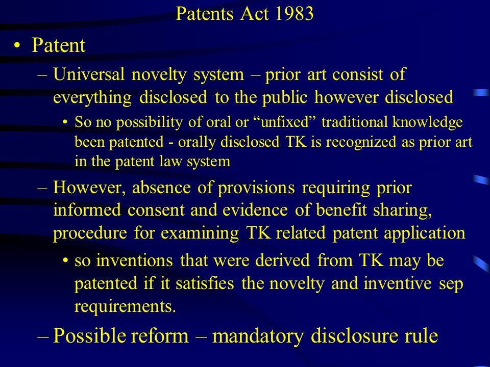 Possible reform – mandatory disclosure rule