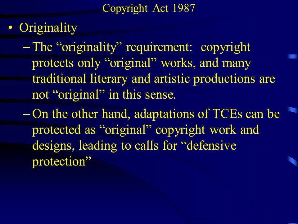 Copyright Act 1987 Originality.