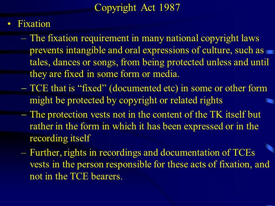 Copyright Act 1987 Fixation