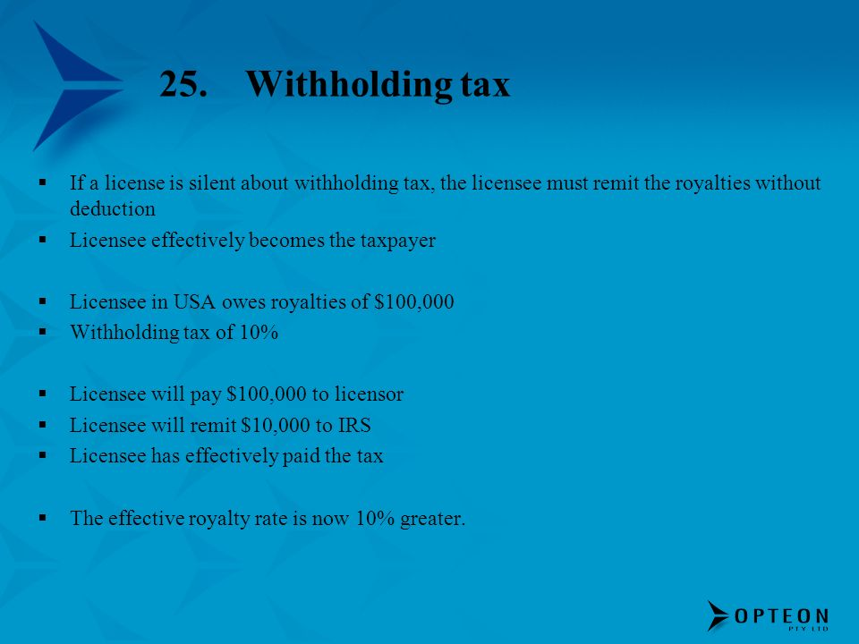 25. Withholding taxIf a license is silent about withholding tax, the licensee must remit the royalties without deduction.