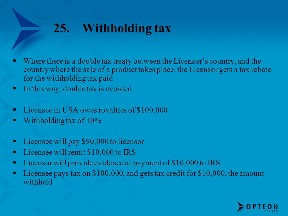 25. Withholding tax