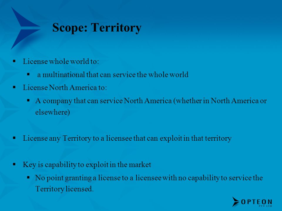 Scope: Territory License whole world to: