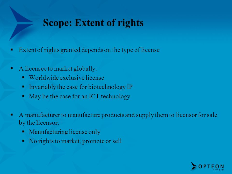 Scope: Extent of rights