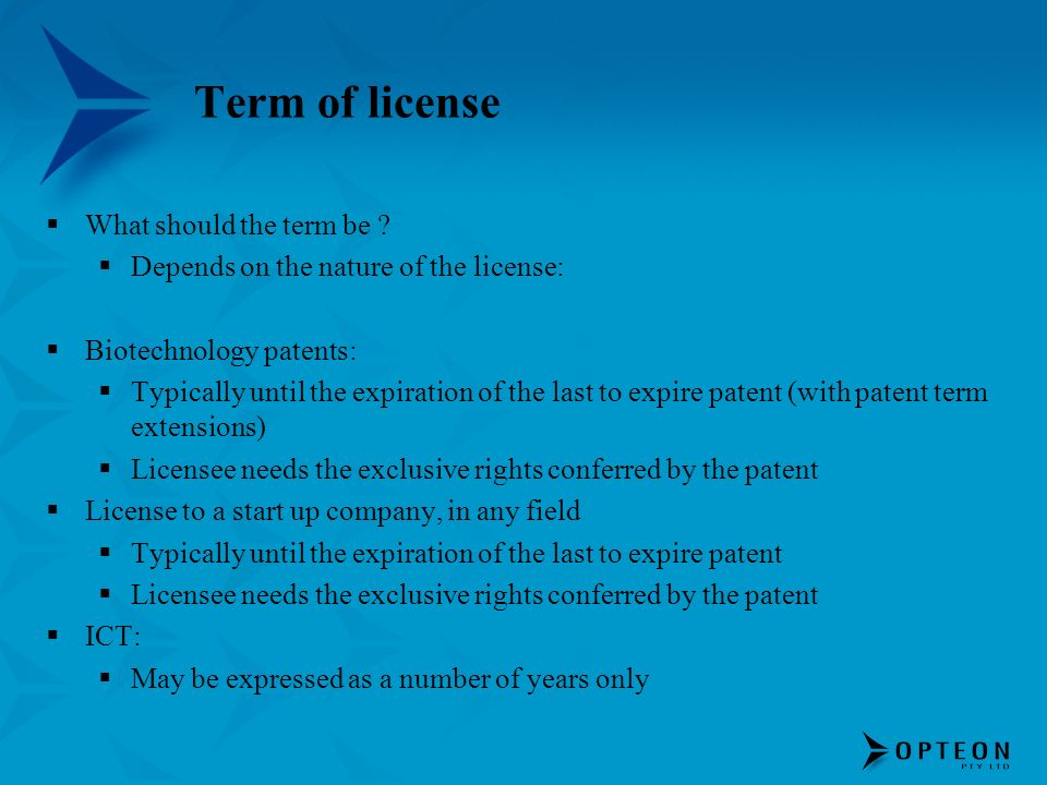 Term of license What should the term be