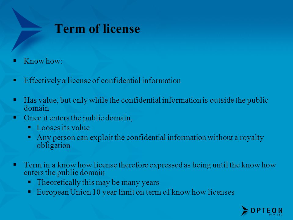Term of license Know how: