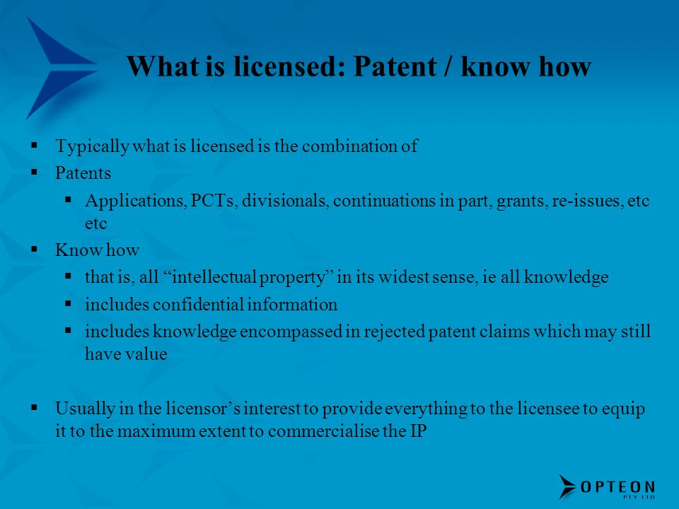 What is licensed: Patent / know how