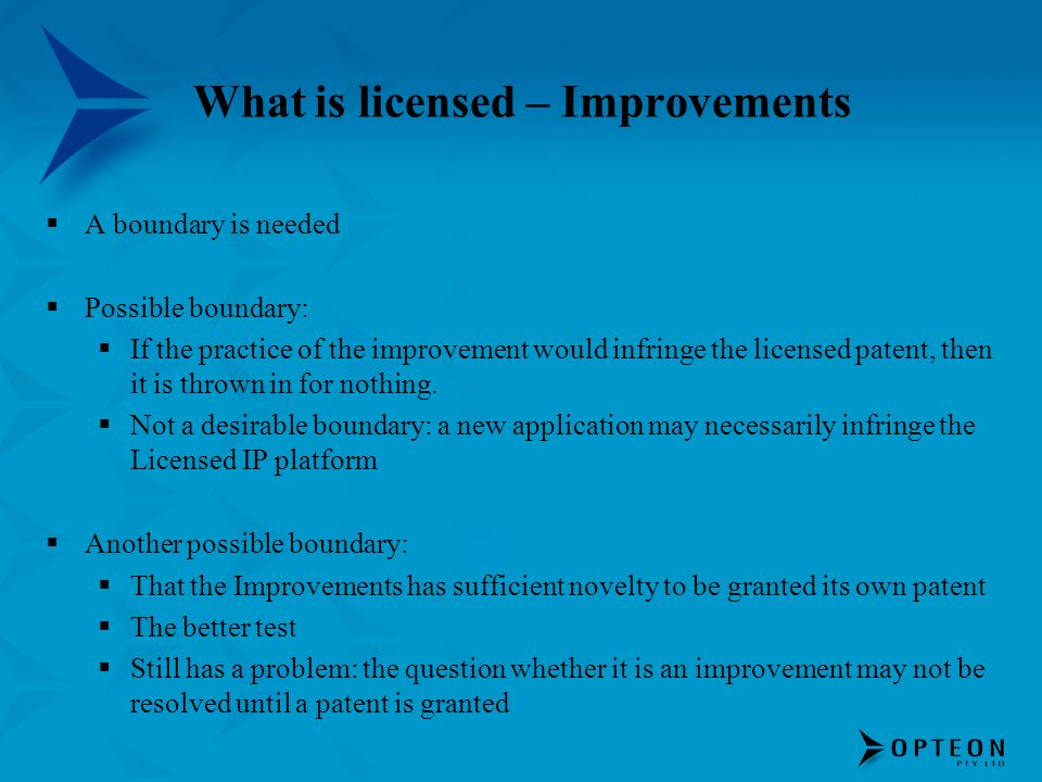 What is licensed – Improvements