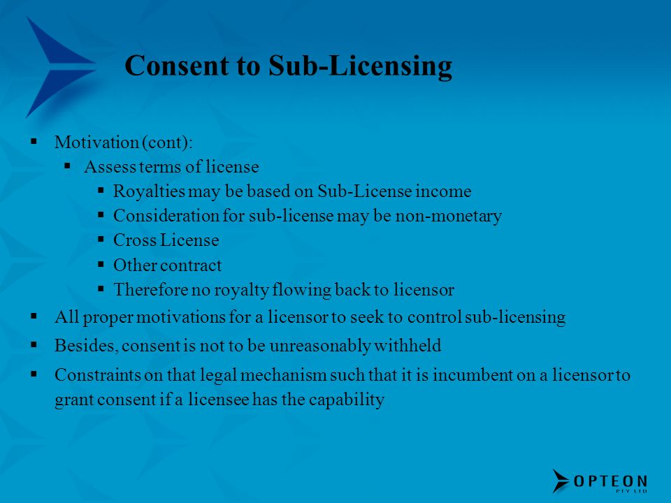 Consent to Sub-Licensing