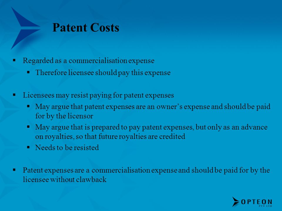 Patent Costs Regarded as a commercialisation expense