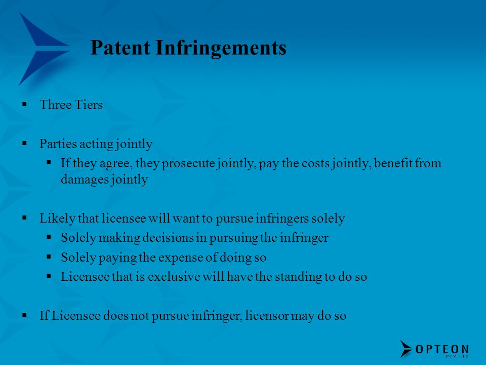 Patent Infringements Three Tiers Parties acting jointly