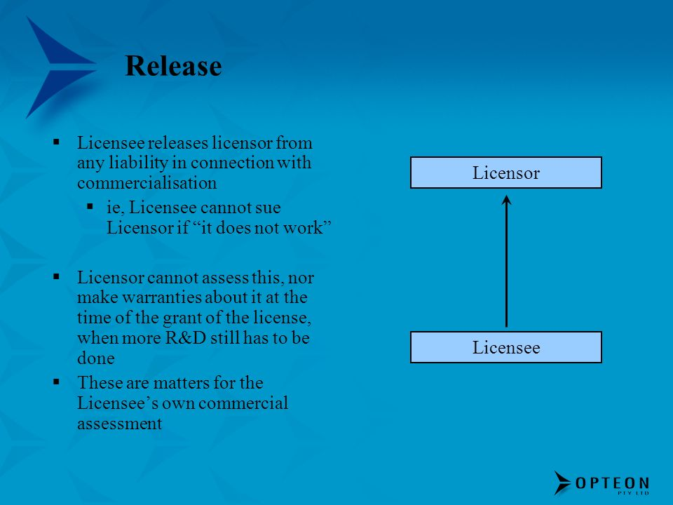 ReleaseLicensee releases licensor from any liability in connection with commercialisation. ie, Licensee cannot sue Licensor if it does not work
