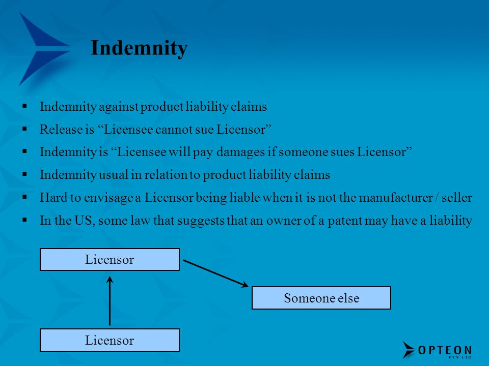 Indemnity Indemnity against product liability claims