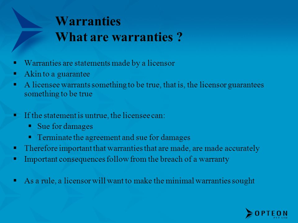 Warranties What are warranties