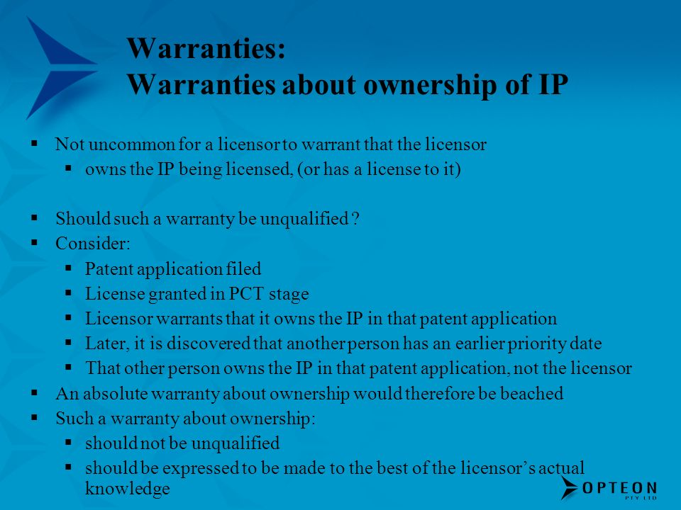 Warranties: Warranties about ownership of IP