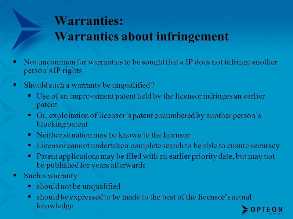 Warranties: Warranties about infringement