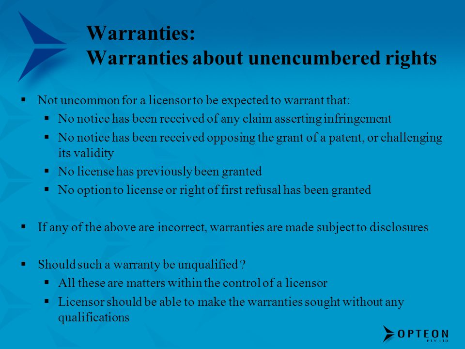 Warranties: Warranties about unencumbered rights