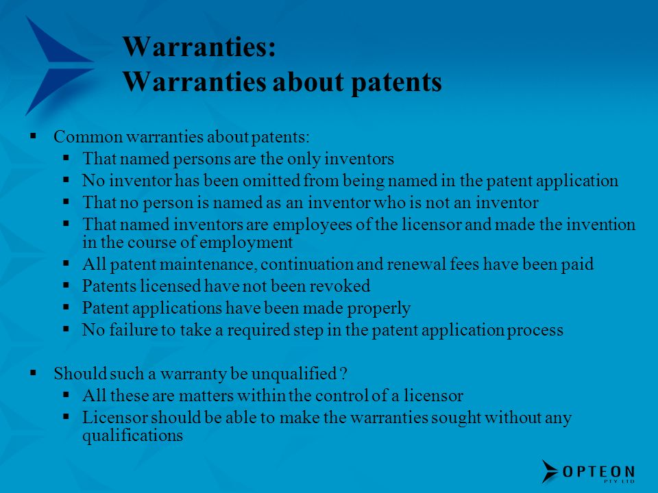 Warranties: Warranties about patents